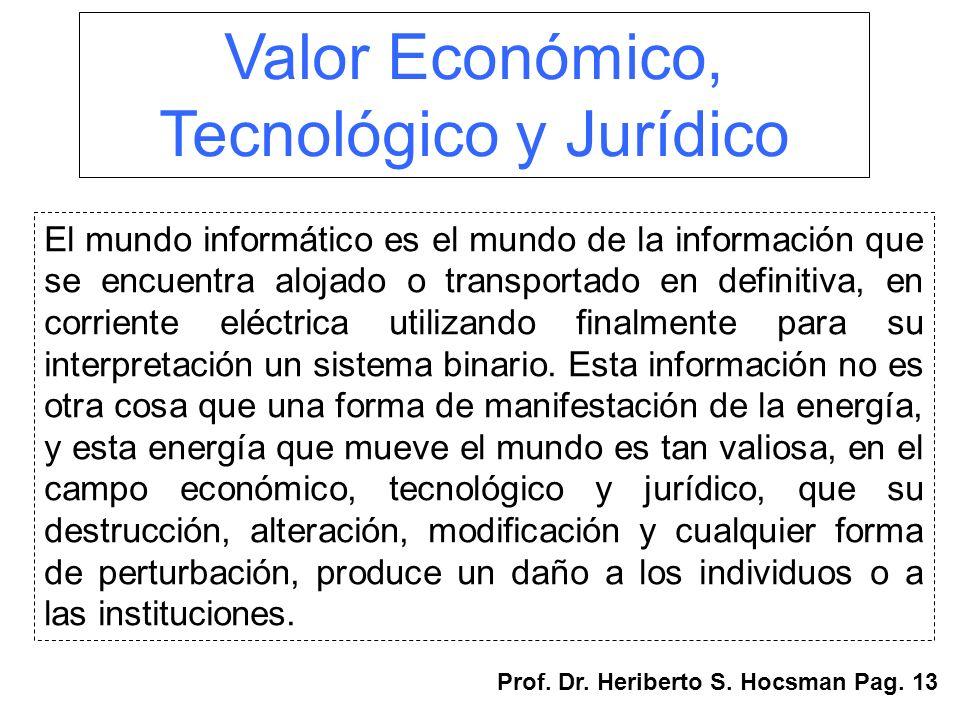 Valor Económico, Tecnológico y Jurídico El mundo informático es el mundo de la información que se encuentra alojado o transportado en definitiva, en c