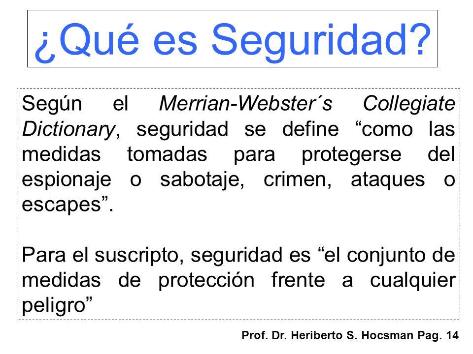 ¿Qué es Seguridad? Según el Merrian-Webster´s Collegiate Dictionary, seguridad se define como las medidas tomadas para protegerse del espionaje o sabo