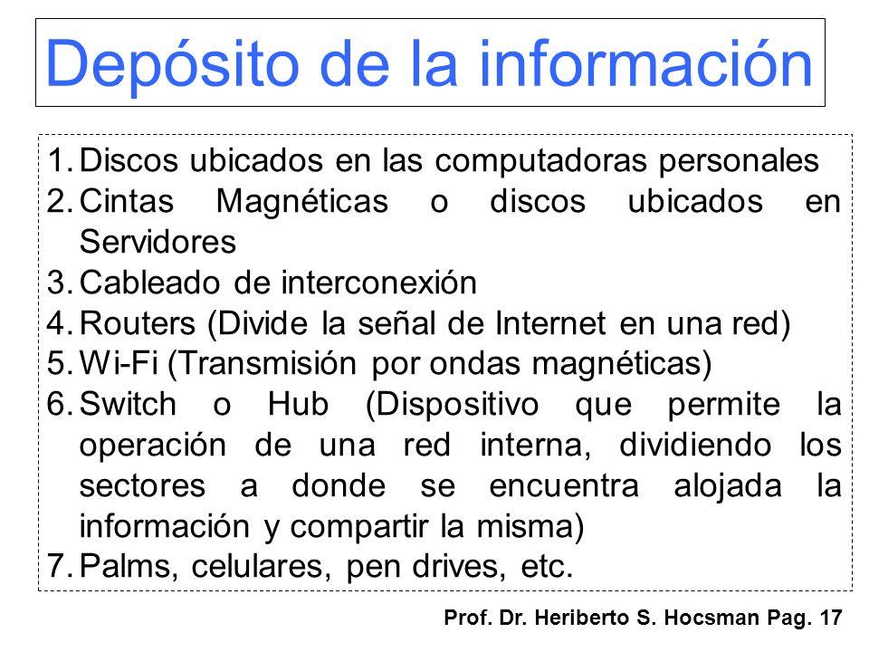 Depósito de la información 1.Discos ubicados en las computadoras personales 2.Cintas Magnéticas o discos ubicados en Servidores 3.Cableado de intercon