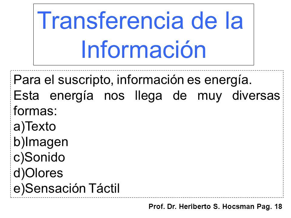 Transferencia de la Información Para el suscripto, información es energía. Esta energía nos llega de muy diversas formas: a)Texto b)Imagen c)Sonido d)