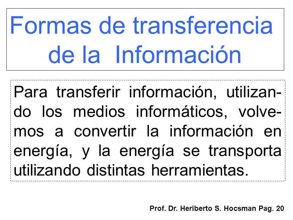 Formas de transferencia de la Información Para transferir información, utilizan- do los medios informáticos, volve- mos a convertir la información en
