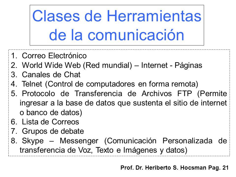 Clases de Herramientas de la comunicación 1. Correo Electrónico 2. World Wide Web (Red mundial) – Internet - Páginas 3. Canales de Chat 4. Telnet (Con