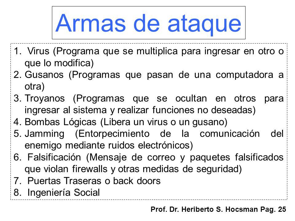 Armas de ataque 1. Virus (Programa que se multiplica para ingresar en otro o que lo modifica) 2.Gusanos (Programas que pasan de una computadora a otra