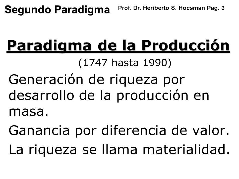 Segundo Paradigma Generación de riqueza por desarrollo de la producción en masa. Ganancia por diferencia de valor. La riqueza se llama materialidad. P