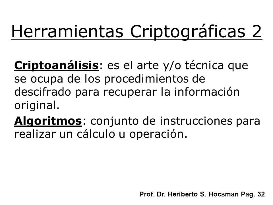 Criptoanálisis: es el arte y/o técnica que se ocupa de los procedimientos de descifrado para recuperar la información original. Algoritmos: conjunto d