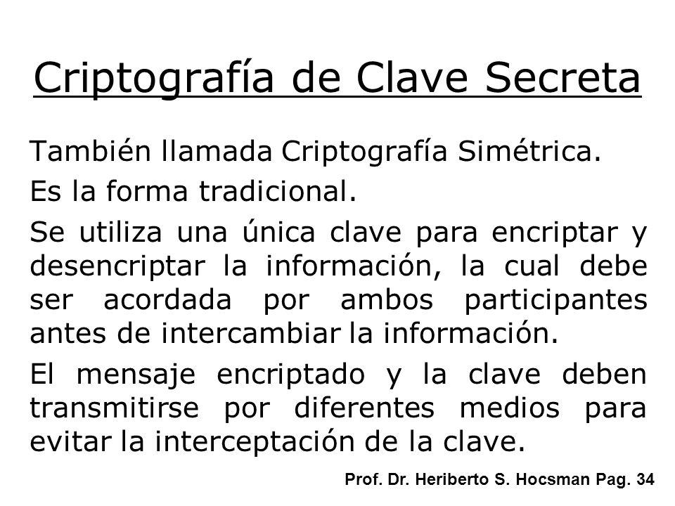 Criptografía de Clave Secreta También llamada Criptografía Simétrica. Es la forma tradicional. Se utiliza una única clave para encriptar y desencripta
