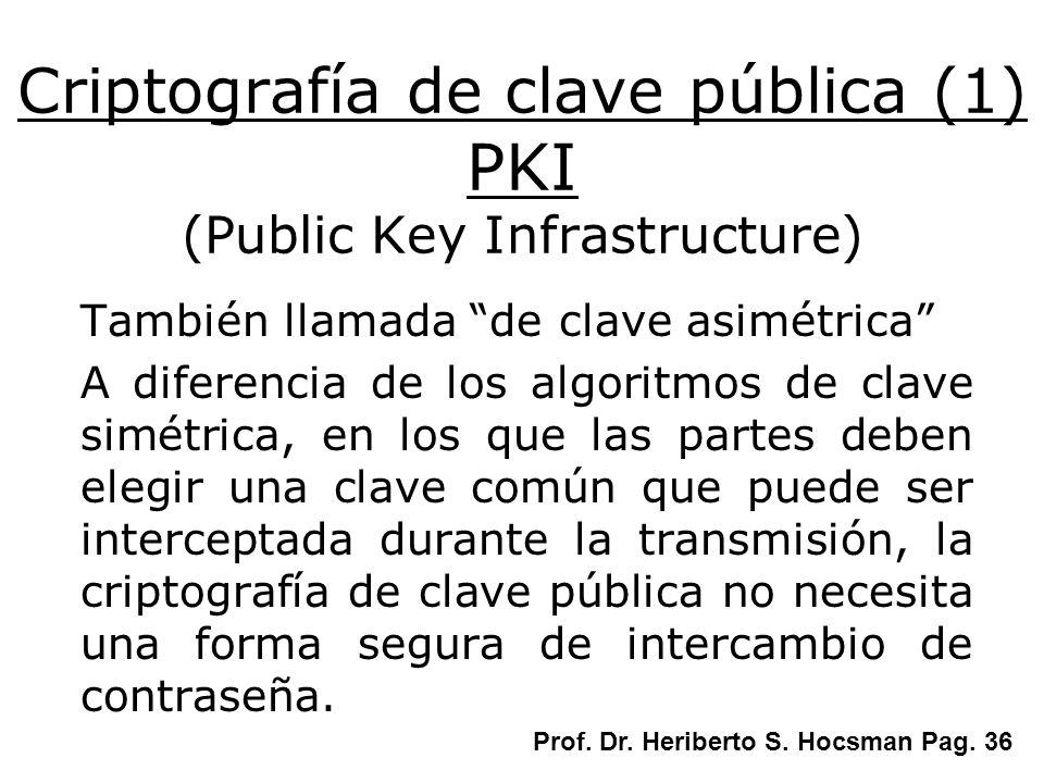 Criptografía de clave pública (1) PKI (Public Key Infrastructure) También llamada de clave asimétrica A diferencia de los algoritmos de clave simétric