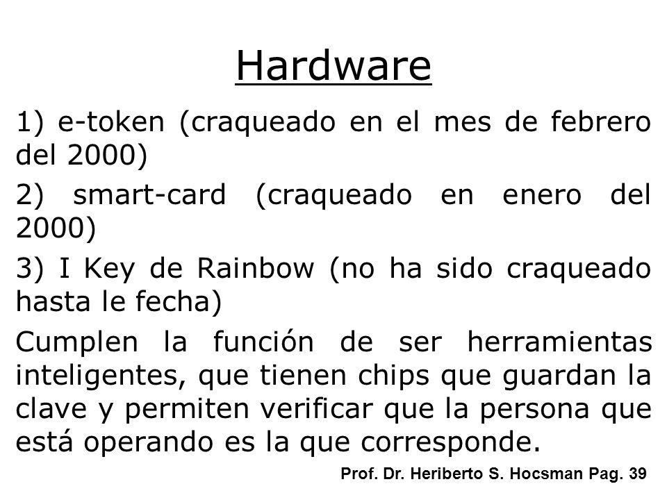 Hardware 1) e-token (craqueado en el mes de febrero del 2000) 2) smart-card (craqueado en enero del 2000) 3) I Key de Rainbow (no ha sido craqueado ha