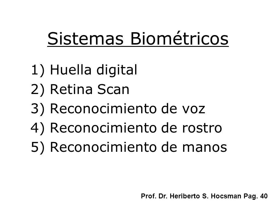 Sistemas Biométricos 1) Huella digital 2) Retina Scan 3) Reconocimiento de voz 4) Reconocimiento de rostro 5) Reconocimiento de manos Prof. Dr. Heribe