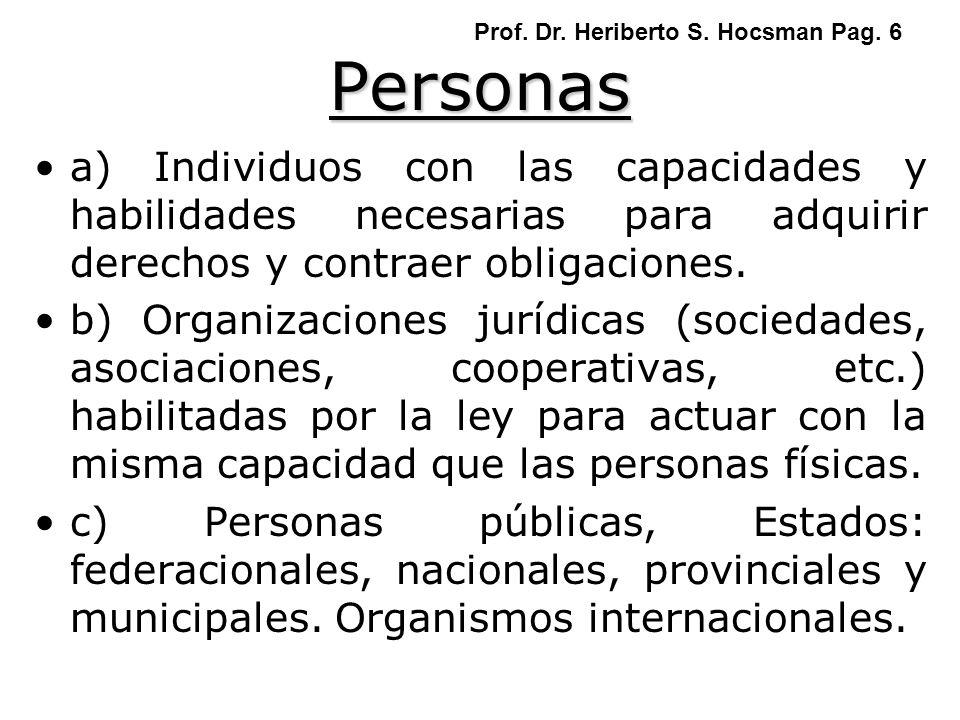 Personas a) Individuos con las capacidades y habilidades necesarias para adquirir derechos y contraer obligaciones. b) Organizaciones jurídicas (socie