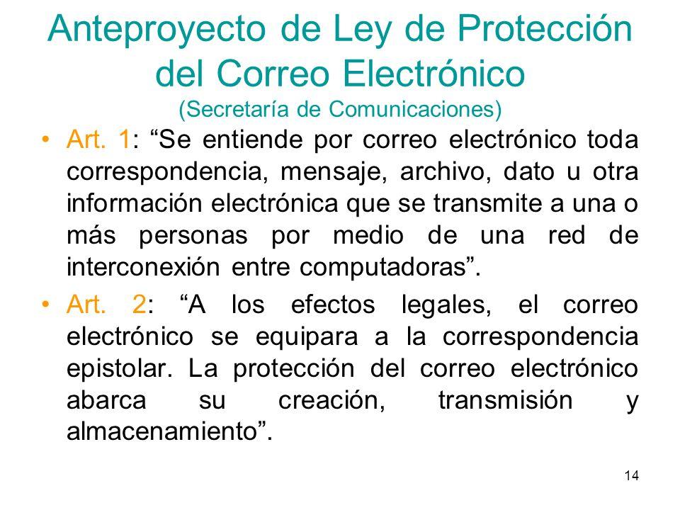 14 Anteproyecto de Ley de Protección del Correo Electrónico (Secretaría de Comunicaciones) Art. 1: Se entiende por correo electrónico toda corresponde
