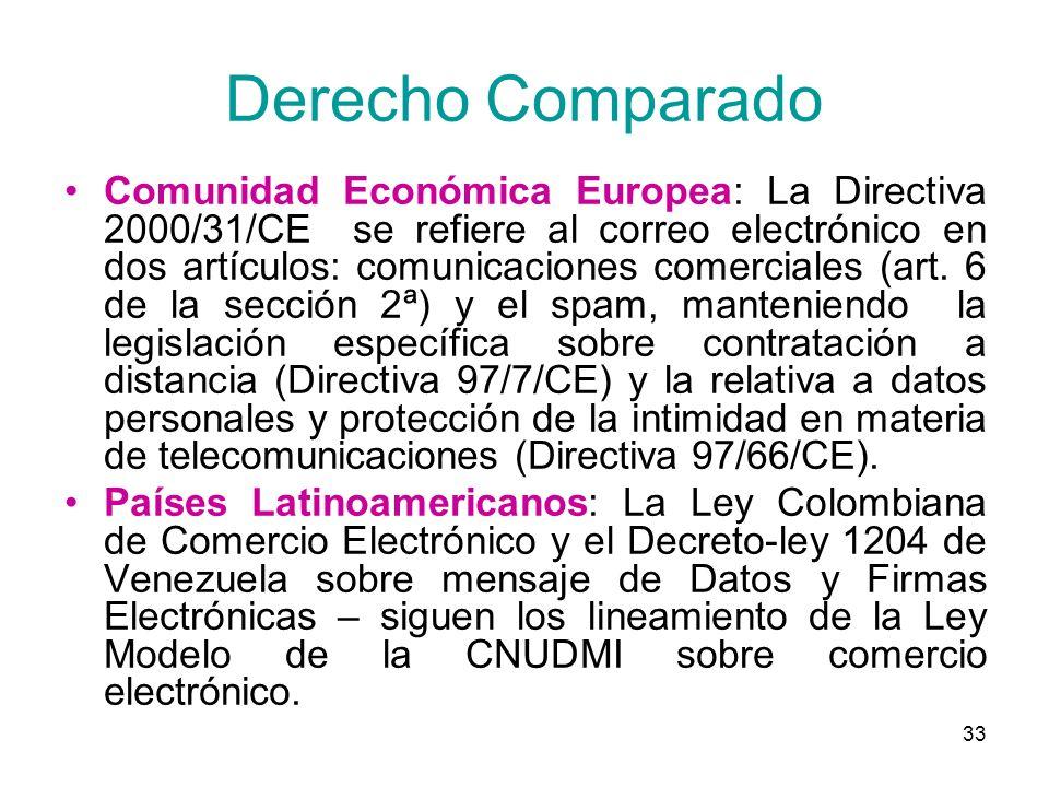 33 Derecho Comparado Comunidad Económica Europea: La Directiva 2000/31/CE se refiere al correo electrónico en dos artículos: comunicaciones comerciale