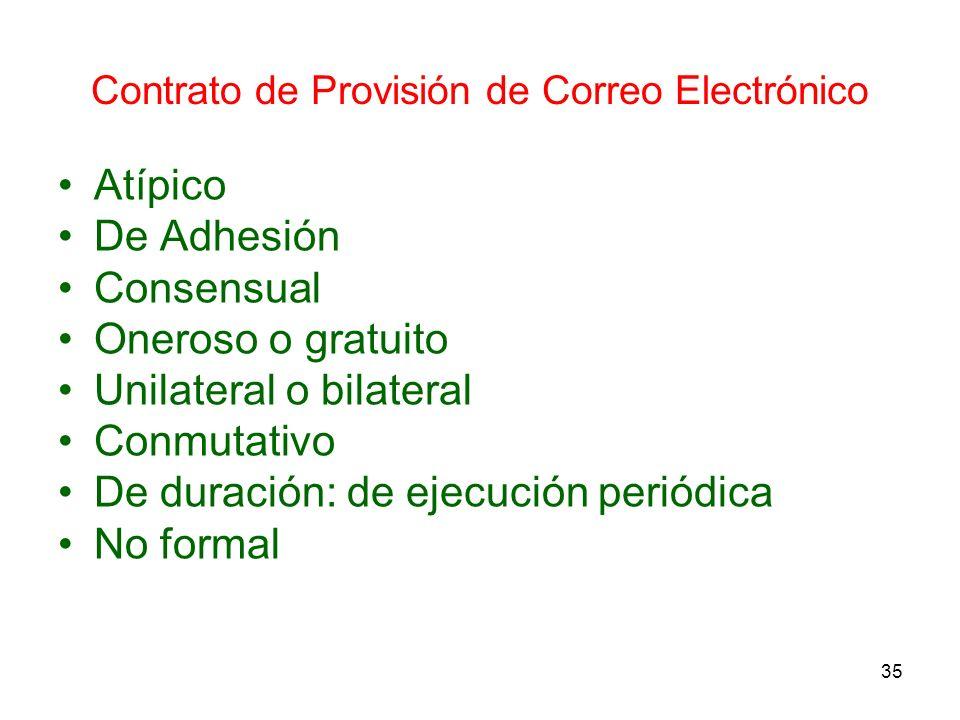 35 Contrato de Provisión de Correo Electrónico Atípico De Adhesión Consensual Oneroso o gratuito Unilateral o bilateral Conmutativo De duración: de ej