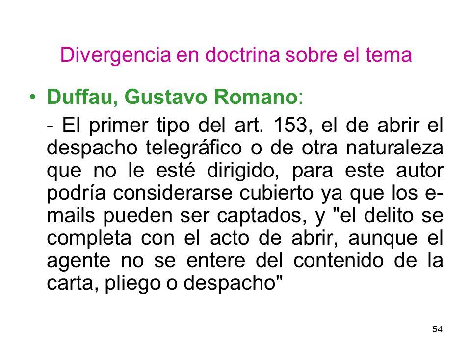 54 Divergencia en doctrina sobre el tema Duffau, Gustavo Romano: - El primer tipo del art. 153, el de abrir el despacho telegráfico o de otra naturale