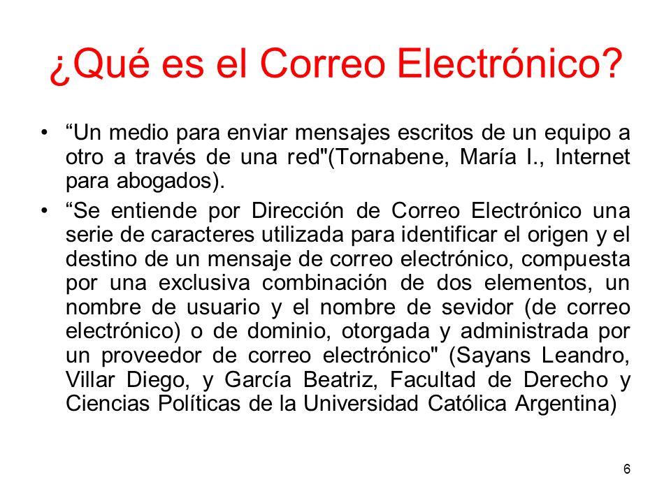 6 ¿Qué es el Correo Electrónico? Un medio para enviar mensajes escritos de un equipo a otro a través de una red
