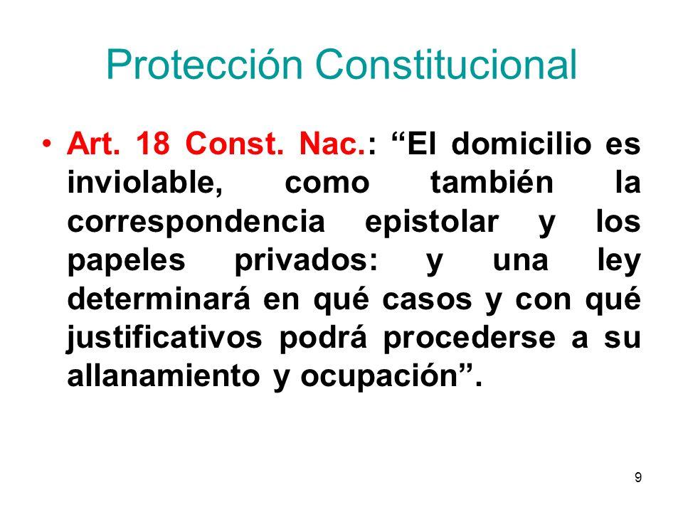 9 Protección Constitucional Art. 18 Const. Nac.: El domicilio es inviolable, como también la correspondencia epistolar y los papeles privados: y una l