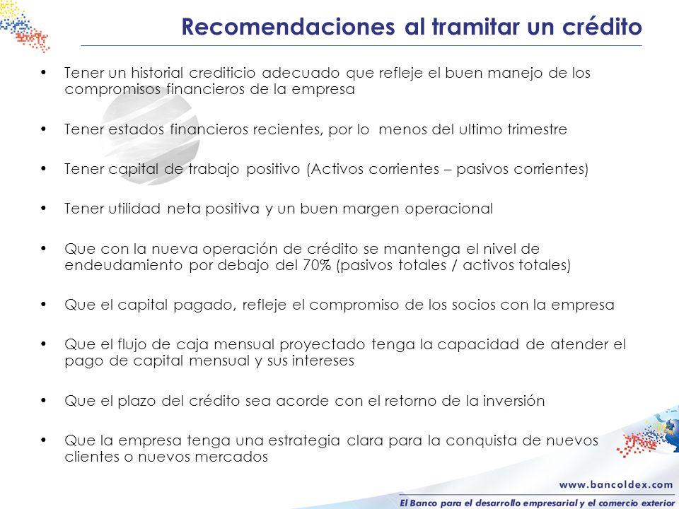 Recomendaciones al tramitar un crédito Tener un historial crediticio adecuado que refleje el buen manejo de los compromisos financieros de la empresa