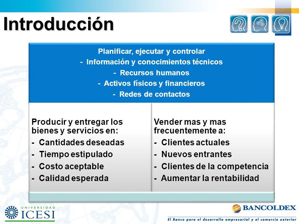 Planificar, ejecutar y controlar - Información y conocimientos técnicos - Recursos humanos - Activos físicos y financieros - Redes de contactos Produc