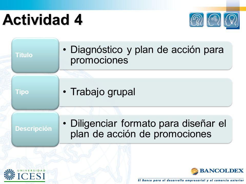 Actividad 4 Diagnóstico y plan de acción para promociones Titulo Trabajo grupal Tipo Diligenciar formato para diseñar el plan de acción de promociones
