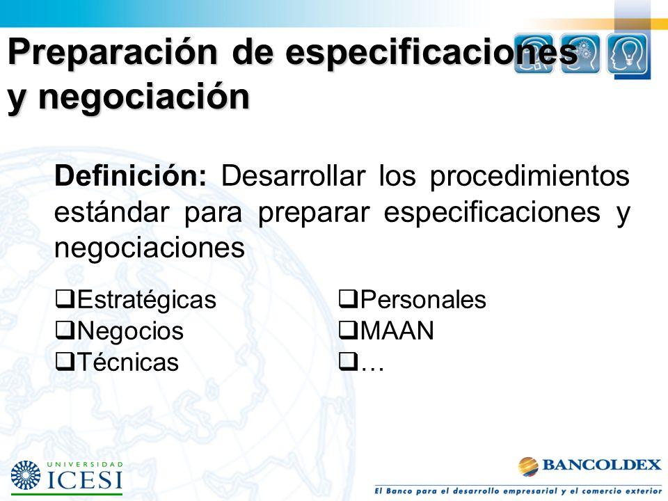 Preparación de especificaciones y negociación Definición: Desarrollar los procedimientos estándar para preparar especificaciones y negociaciones Estra