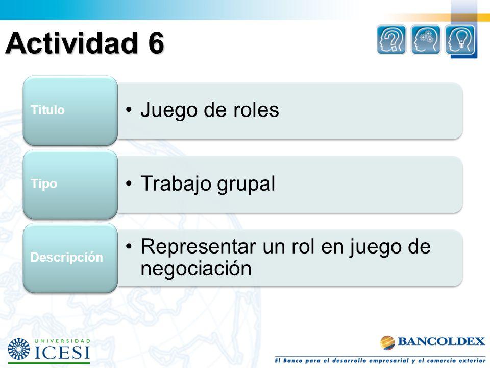 Actividad 6 Juego de roles Titulo Trabajo grupal Tipo Representar un rol en juego de negociación Descripción