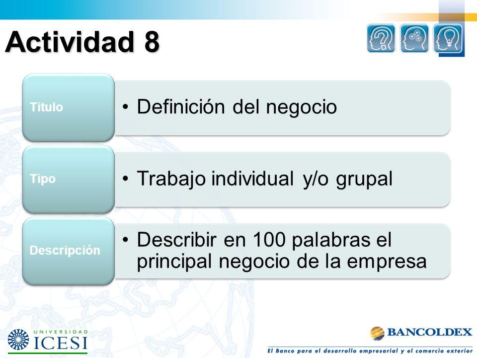Actividad 8 Definición del negocio Titulo Trabajo individual y/o grupal Tipo Describir en 100 palabras el principal negocio de la empresa Descripción