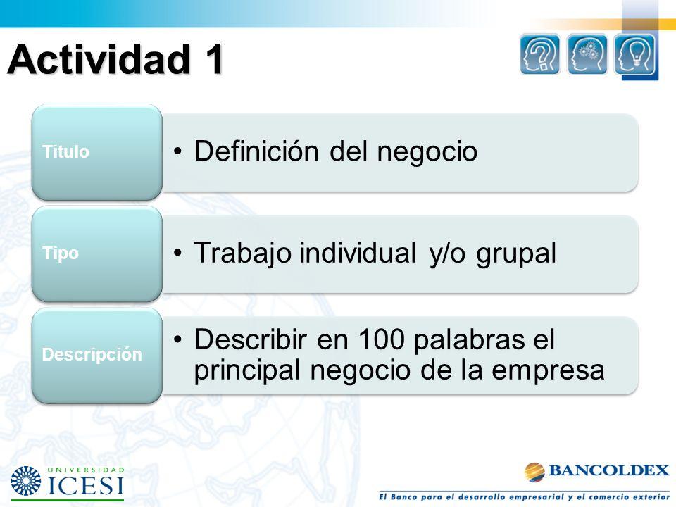 Actividad 1 Definición del negocio Titulo Trabajo individual y/o grupal Tipo Describir en 100 palabras el principal negocio de la empresa Descripción