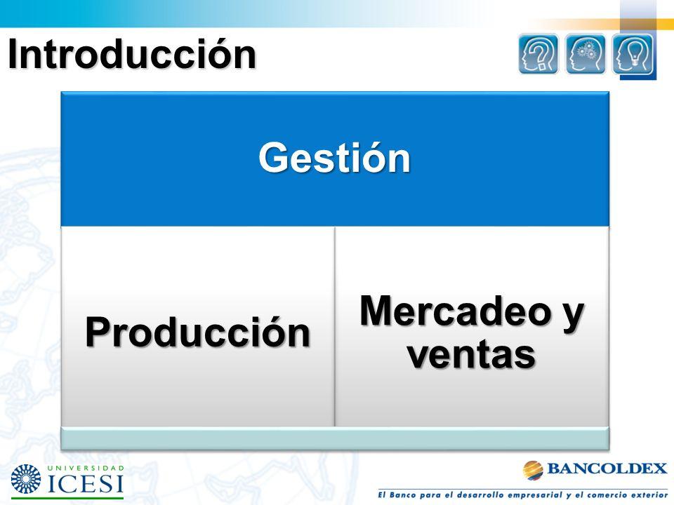 Gestión Producción Mercadeo y ventas Introducción
