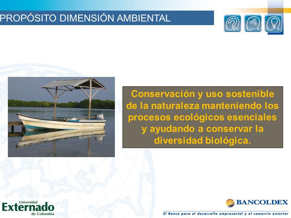 Conservación y uso sostenible de la naturaleza manteniendo los procesos ecológicos esenciales y ayudando a conservar la diversidad biológica. PROPÓSIT