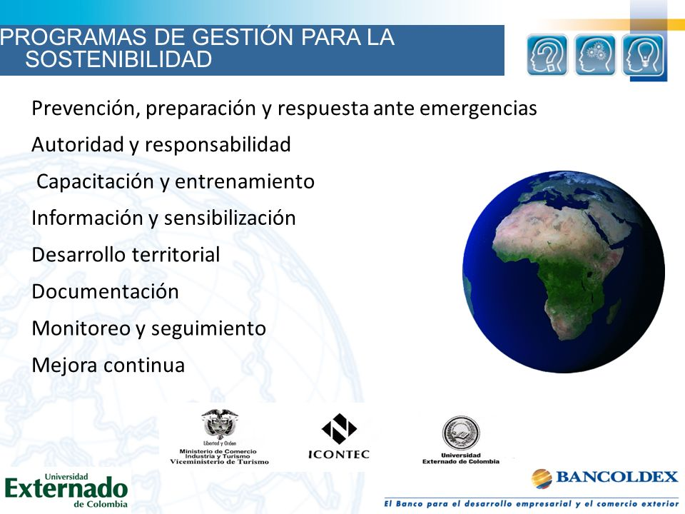 Monitoreo y seguimiento Autoridad y responsabilidad Capacitación y entrenamiento Información y sensibilización Desarrollo territorial Documentación Pr