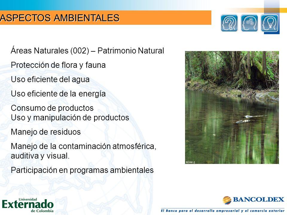 Áreas Naturales (002) – Patrimonio Natural Protección de flora y fauna Uso eficiente del agua Uso eficiente de la energía Consumo de productos Uso y m