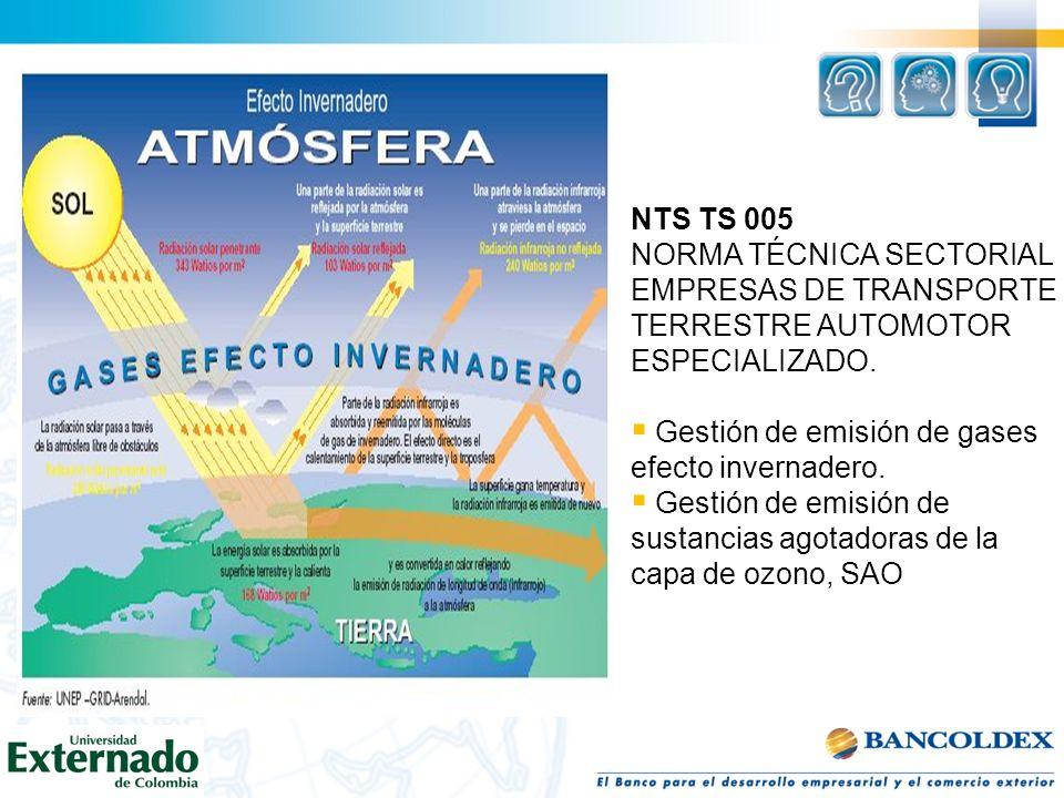 NTS TS 005 NORMA TÉCNICA SECTORIAL EMPRESAS DE TRANSPORTE TERRESTRE AUTOMOTOR ESPECIALIZADO. Gestión de emisión de gases efecto invernadero. Gestión d