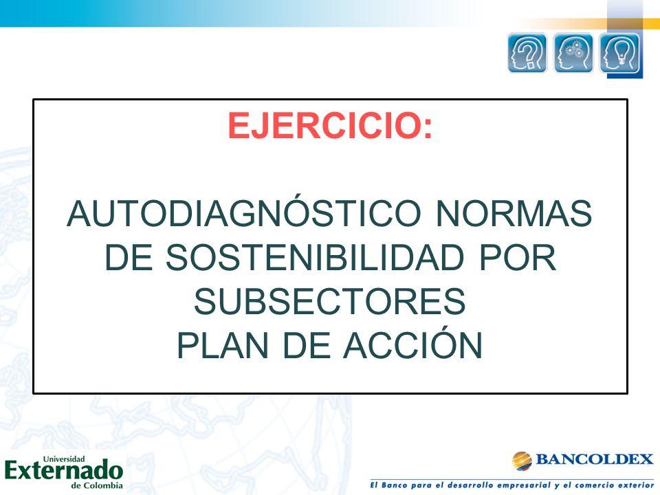 EJERCICIO: AUTODIAGNÓSTICO NORMAS DE SOSTENIBILIDAD POR SUBSECTORES PLAN DE ACCIÓN