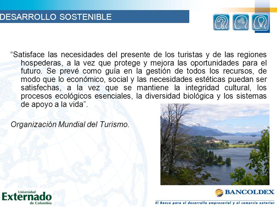 Satisface las necesidades del presente de los turistas y de las regiones hospederas, a la vez que protege y mejora las oportunidades para el futuro. S
