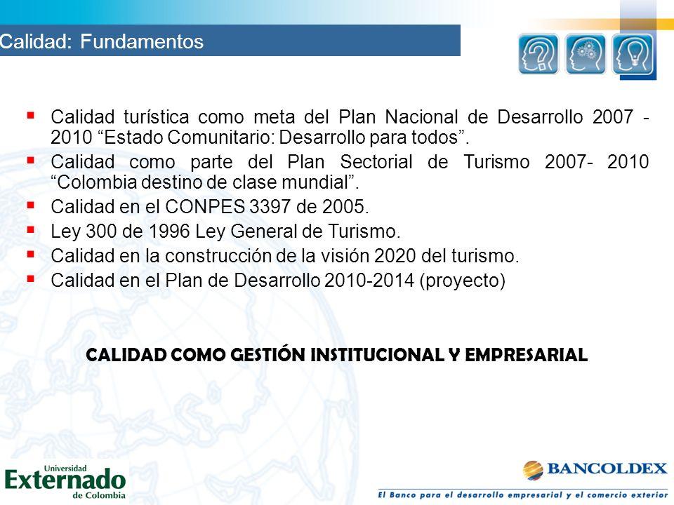 Calidad turística como meta del Plan Nacional de Desarrollo 2007 - 2010 Estado Comunitario: Desarrollo para todos. Calidad como parte del Plan Sectori
