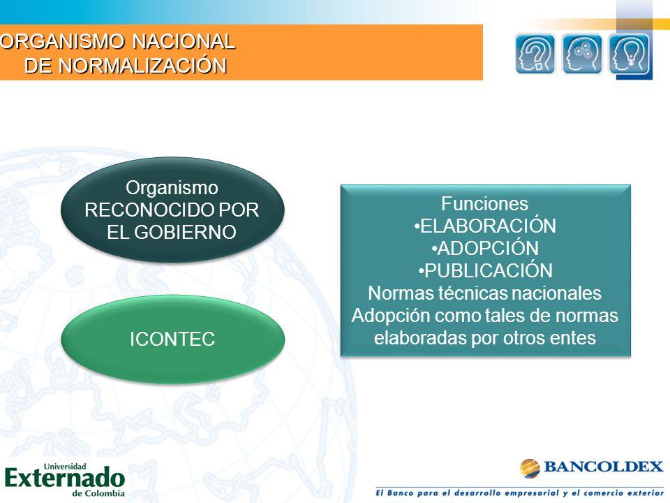 Organismos RECONOCIDOS Organismos RECONOCIDOS ICONTEC Directrices fijadas por el CONSEJO NACIONAL DE NORMAS Y CALIDADES Directrices fijadas por el CONSEJO NACIONAL DE NORMAS Y CALIDADES Preparación de Normas PROPIAS DEL SECTOR Preparación de Normas PROPIAS DEL SECTOR Posibilidad de ser sometidas al ICONTEC para ser adoptadas y publicadas como NORMAS TÉCNICAS COLOMBIANAS Posibilidad de ser sometidas al ICONTEC para ser adoptadas y publicadas como NORMAS TÉCNICAS COLOMBIANAS UNIDADES SECTORIALES DE NORMALIZACIÓN