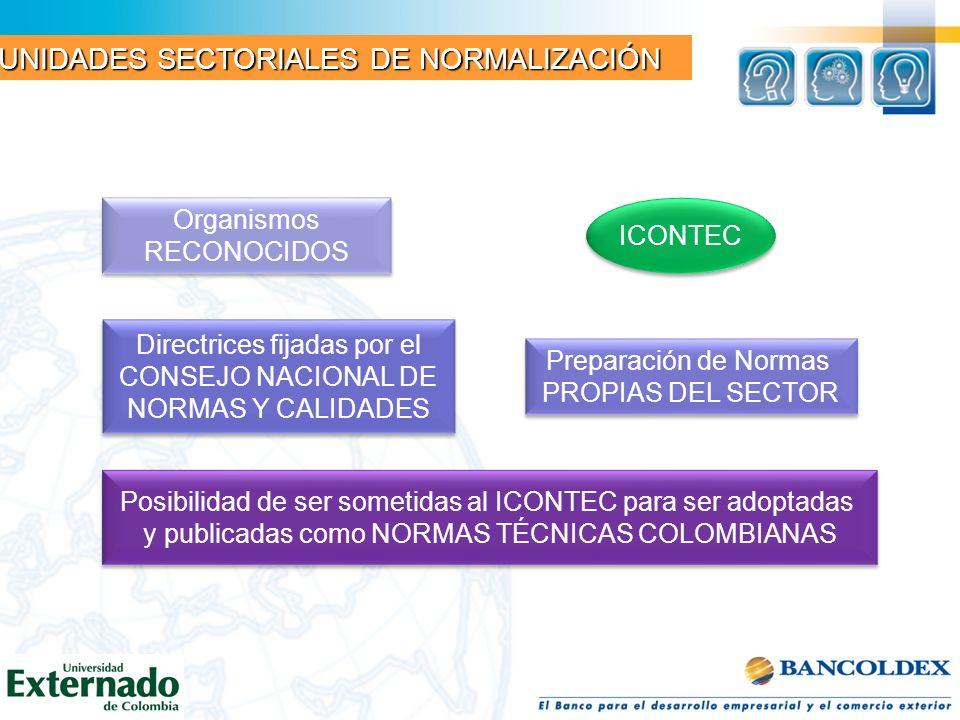 Organismos RECONOCIDOS Organismos RECONOCIDOS ICONTEC Directrices fijadas por el CONSEJO NACIONAL DE NORMAS Y CALIDADES Directrices fijadas por el CON
