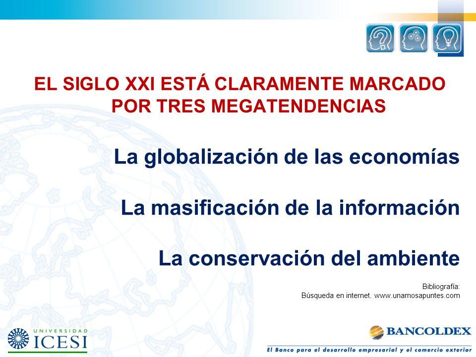 EL SIGLO XXI ESTÁ CLARAMENTE MARCADO POR TRES MEGATENDENCIAS La globalización de las economías La masificación de la información La conservación del a