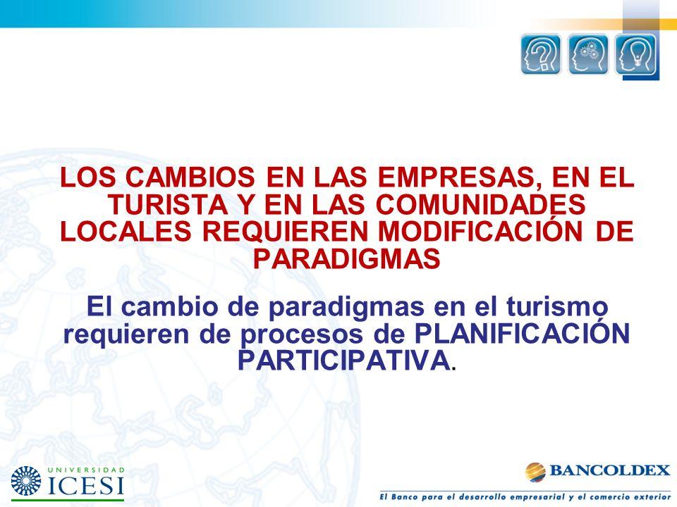LOS CAMBIOS EN LAS EMPRESAS, EN EL TURISTA Y EN LAS COMUNIDADES LOCALES REQUIEREN MODIFICACIÓN DE PARADIGMAS El cambio de paradigmas en el turismo req