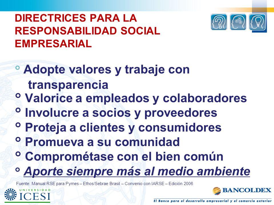 DIRECTRICES PARA LA RESPONSABILIDAD SOCIAL EMPRESARIAL ° Adopte valores y trabaje con transparencia ° Valorice a empleados y colaboradores ° Involucre