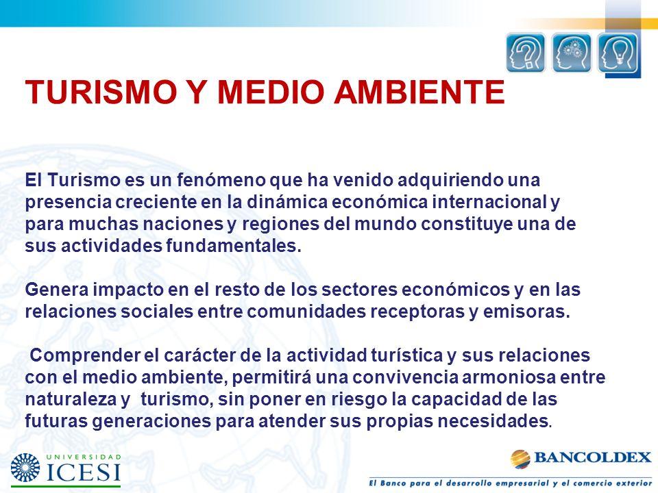 TURISMO Y MEDIO AMBIENTE El Turismo es un fenómeno que ha venido adquiriendo una presencia creciente en la dinámica económica internacional y para muc