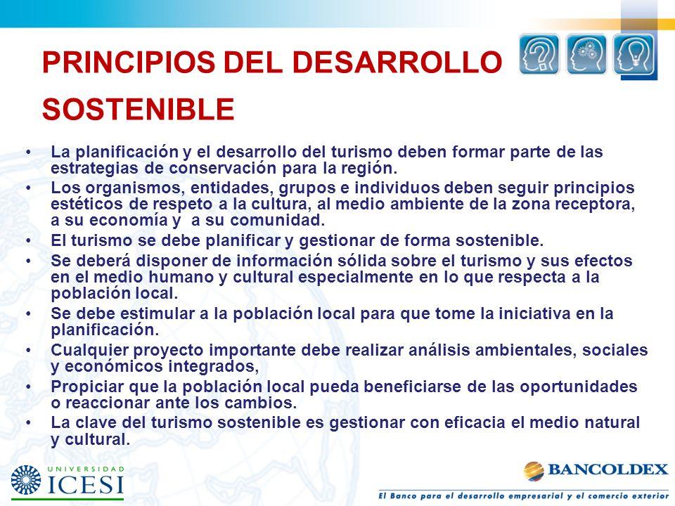 PRINCIPIOS DEL DESARROLLO SOSTENIBLE La planificación y el desarrollo del turismo deben formar parte de las estrategias de conservación para la región