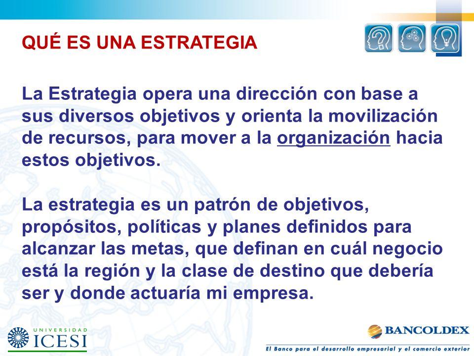 QUÉ ES UNA ESTRATEGIA La Estrategia opera una dirección con base a sus diversos objetivos y orienta la movilización de recursos, para mover a la organ