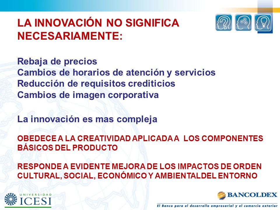 LA INNOVACIÓN NO SIGNIFICA NECESARIAMENTE: Rebaja de precios Cambios de horarios de atención y servicios Reducción de requisitos crediticios Cambios d