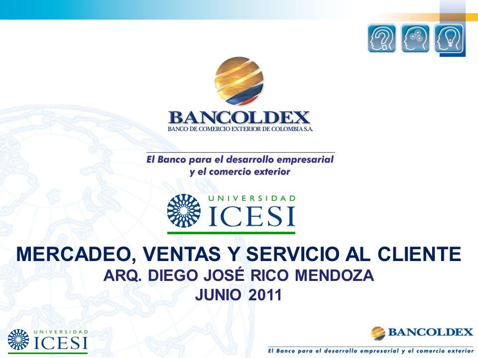 MERCADEO, VENTAS Y SERVICIO AL CLIENTE ARQ. DIEGO JOSÉ RICO MENDOZA JUNIO 2011