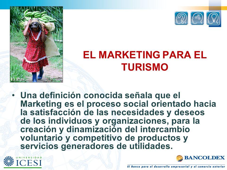 EL MARKETING PARA EL TURISMO Una definición conocida señala que el Marketing es el proceso social orientado hacia la satisfacción de las necesidades y