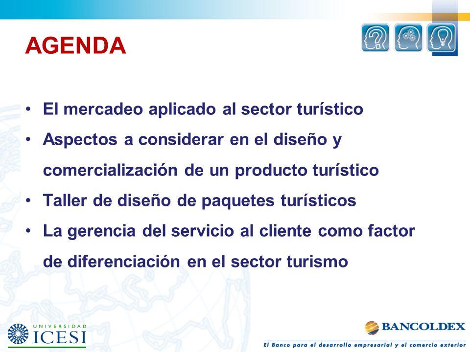 AGENDA El mercadeo aplicado al sector turístico Aspectos a considerar en el diseño y comercialización de un producto turístico Taller de diseño de paq