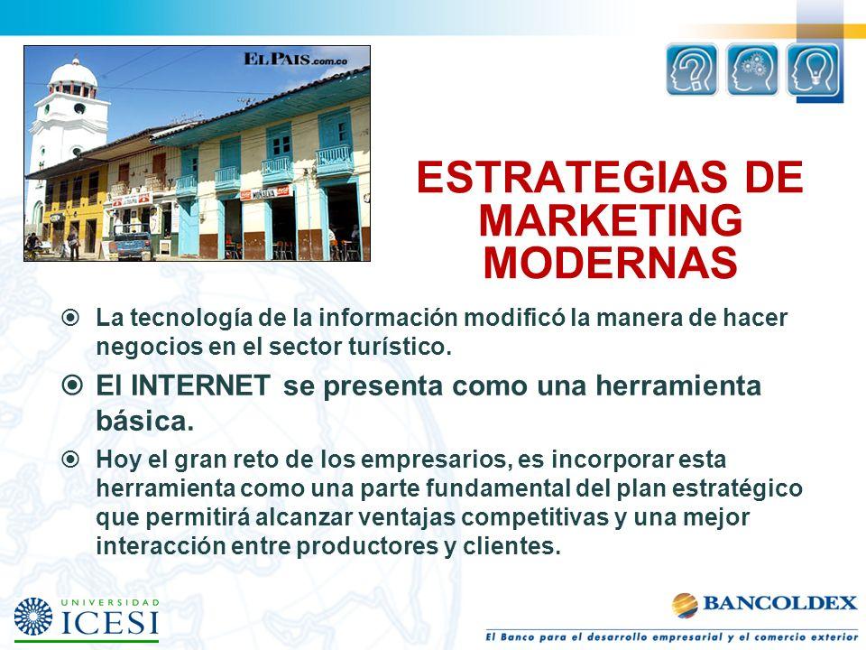 ESTRATEGIAS DE MARKETING MODERNAS La tecnología de la información modificó la manera de hacer negocios en el sector turístico. El INTERNET se presenta