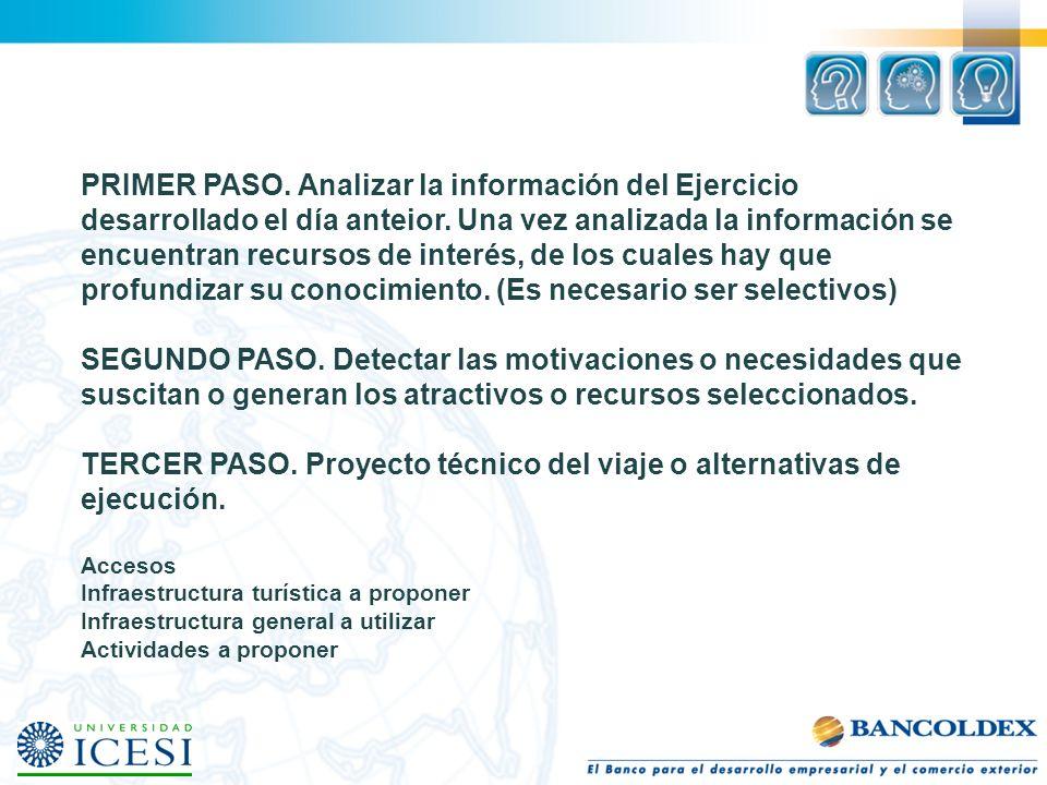 PRIMER PASO. Analizar la información del Ejercicio desarrollado el día anteior. Una vez analizada la información se encuentran recursos de interés, de
