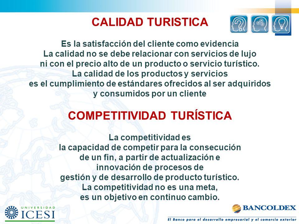 CALIDAD TURISTICA Es la satisfacción del cliente como evidencia La calidad no se debe relacionar con servicios de lujo ni con el precio alto de un pro